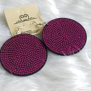 🆕️ Pink Crystal Studded Felt Disc Earrings
